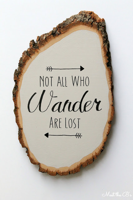 Painted wood slice wall art