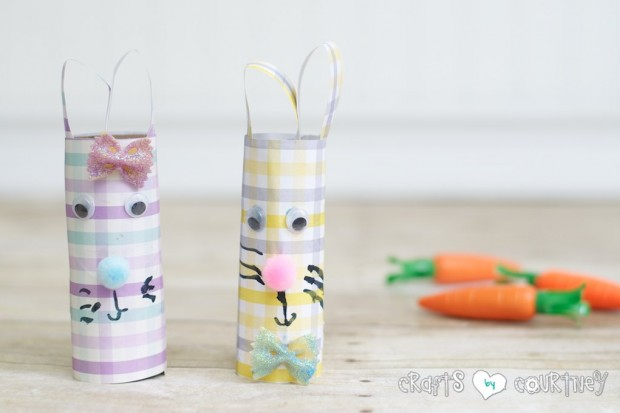Scrapbook paper and toilet paper roll Easter rabbits