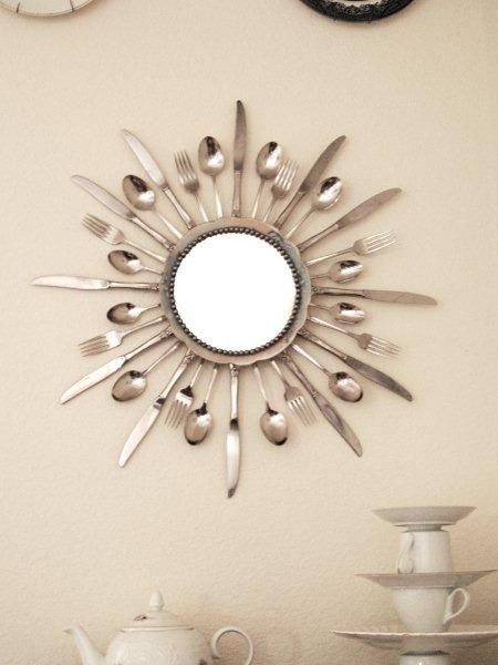 Starburst mirror made from silverware