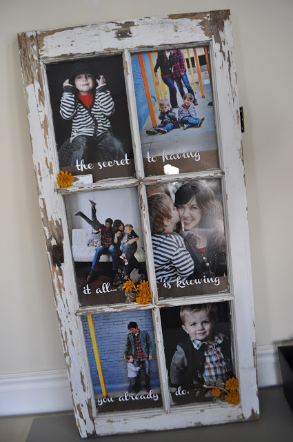 Turn an old window into a picture frame