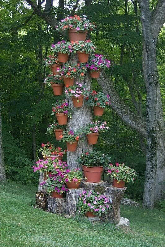 Turn dead tree into flower holder