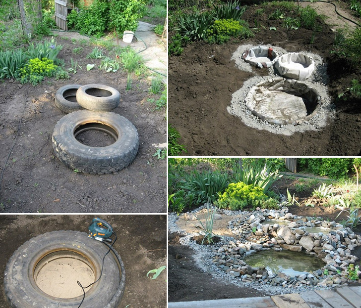 Turn old tires into a beautiful pond