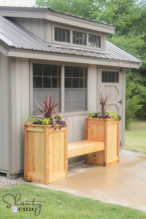 Two-towered planter box bench