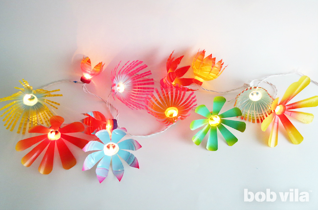 Upgrade simple string lights using merely recycled plastic bottles