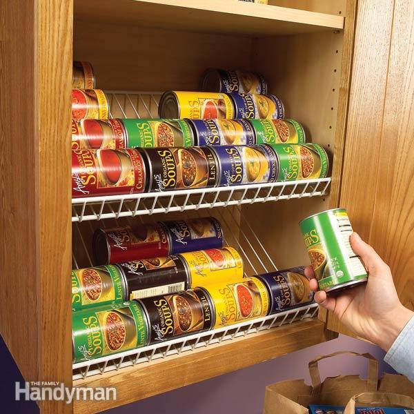 Inexpensive Kitchen Storage Ideas: 16 DIY Canned Food Organizers