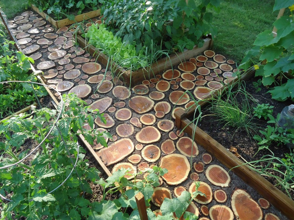 Use left over logs to create unique garden path
