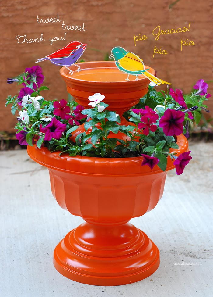 Use two garden urns to make one bird bath, complete with a mini-garden