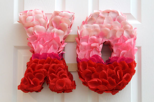 Valentine's Day XO Rose Petal Wreath