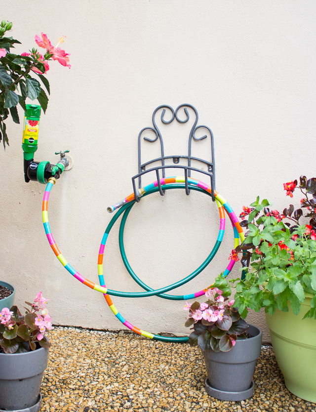 With just a little colored duct tape transform your ordinary garden hose into a work of art