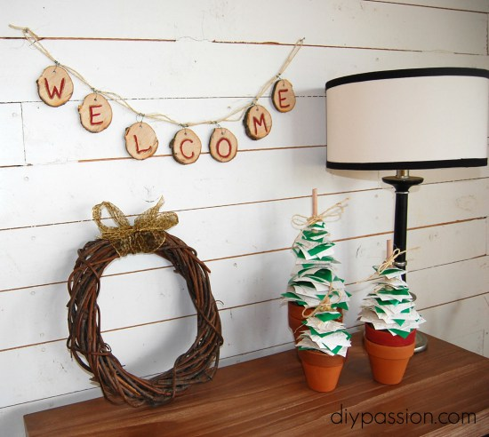 Wood Slice Welcome Banner