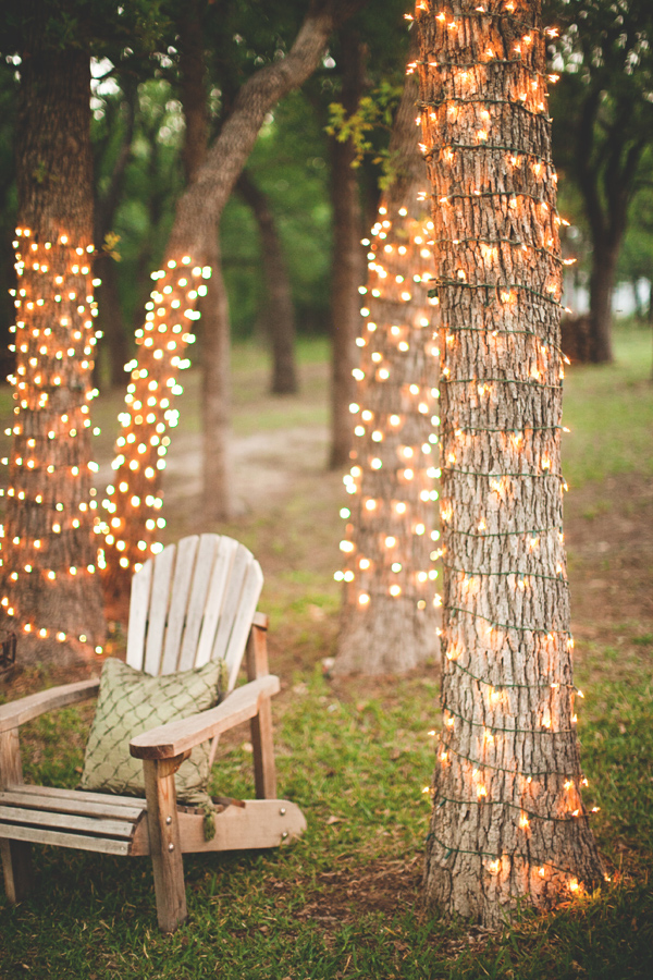 Wrap a few trees in white rope lights to create gorgeous sitting area