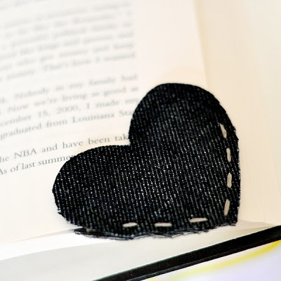 create a bookmark out of an old denim scrap