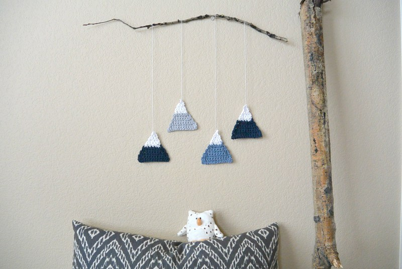 crochet mountains wall hanging