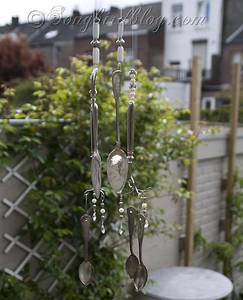 make a wind chime out of vintage silverware