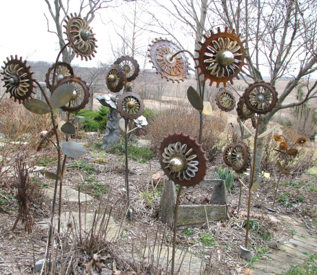 unique garden art from junk