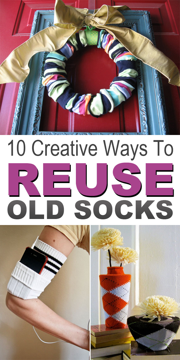 10 Creative Ways to Reuse Old Socks #DIYideas