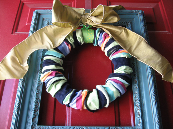 create a fun and colorful sock wreath