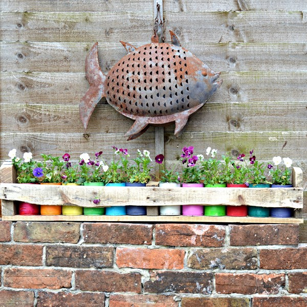 Colourful Tin Can planters and Pallet Holder