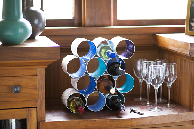 Wine Bottle Rack Made From Coffee Cans