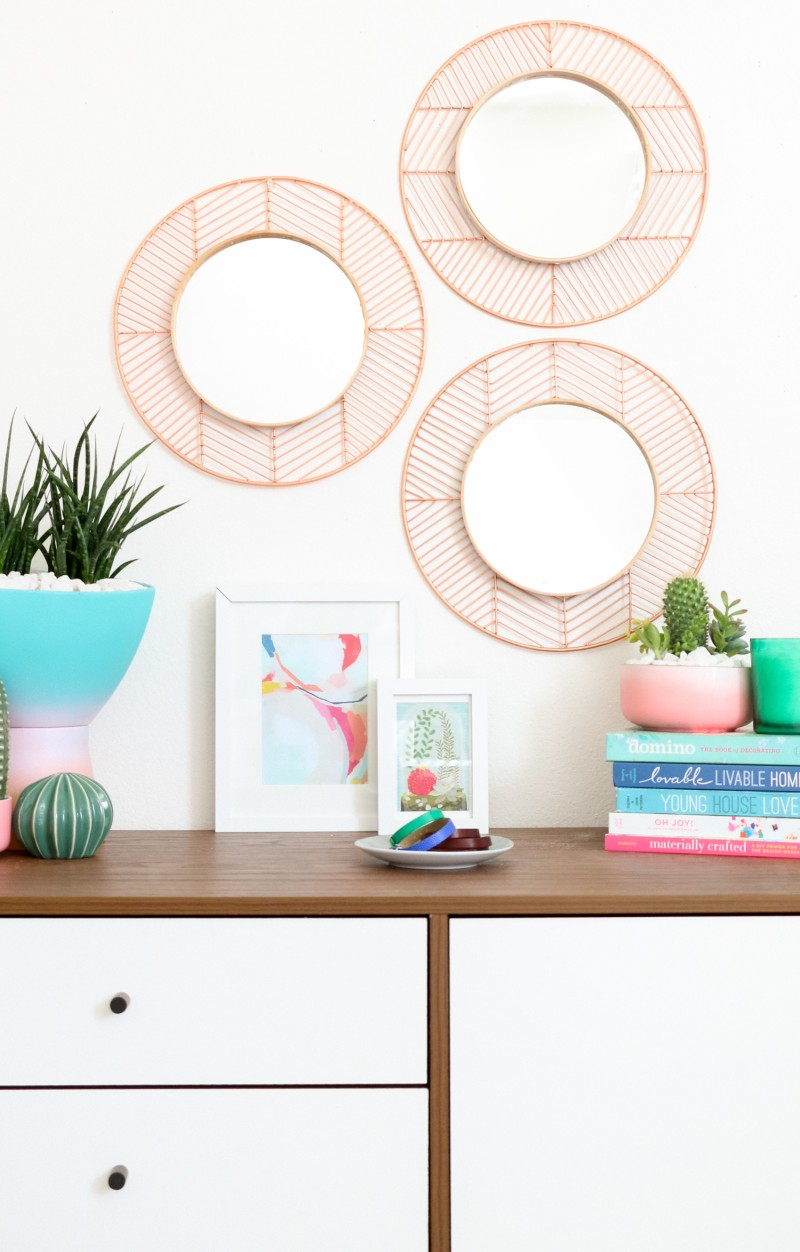 Geometric Copper and Wood Mirrors
