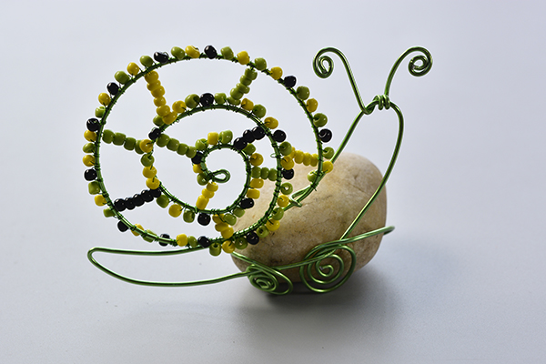 Cute Aluminum Wire Wrapped Snail with Colorful Seed Beads