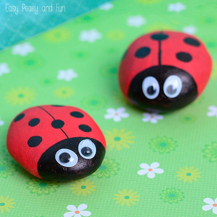 Cute Painted Ladybug Rocks