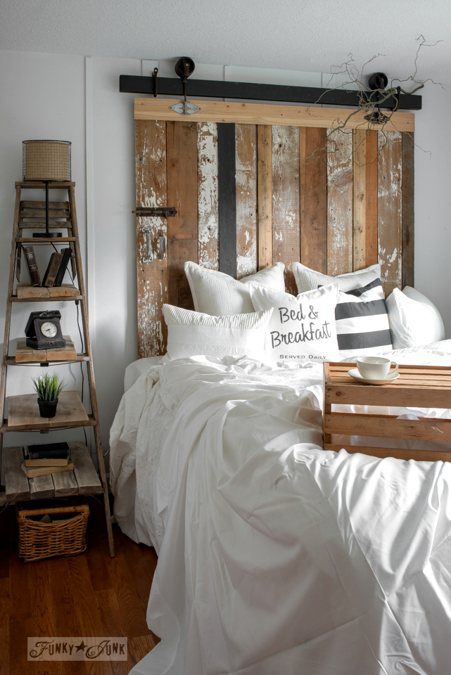 Reclaimed Wood Barn Door Headboard with Faux Hardware