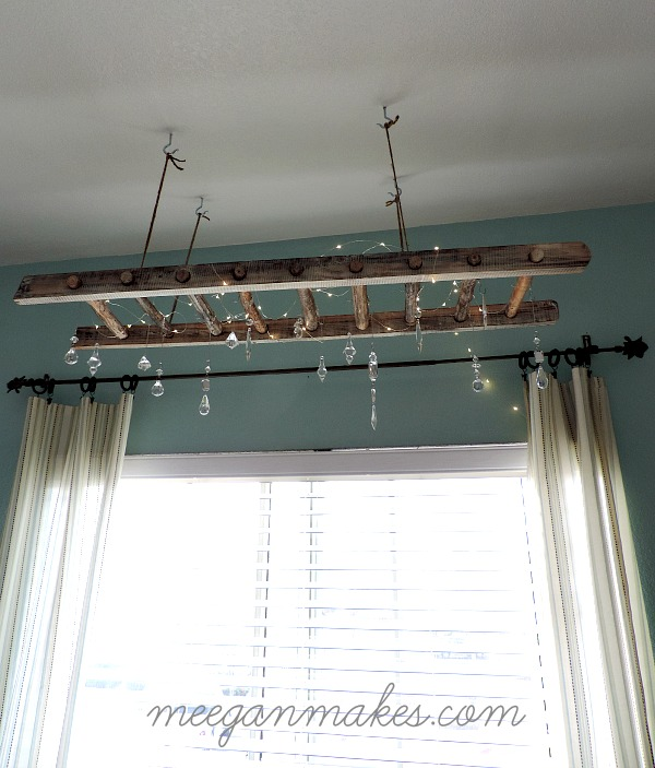 Rustic-Ladder-Chandelier G Vine Decorating Ideas Farmhouse Kitchen on