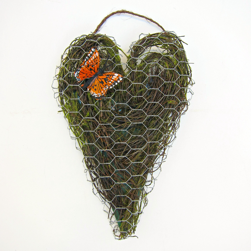 Chicken Wire Heart Decor