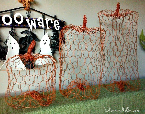 Chicken Wire Pumpkins