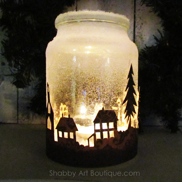 Christmas township candle jar