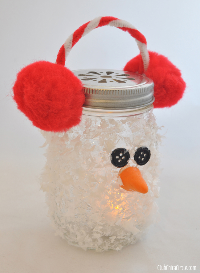 Snowman Mason Jar Luminary Ornament