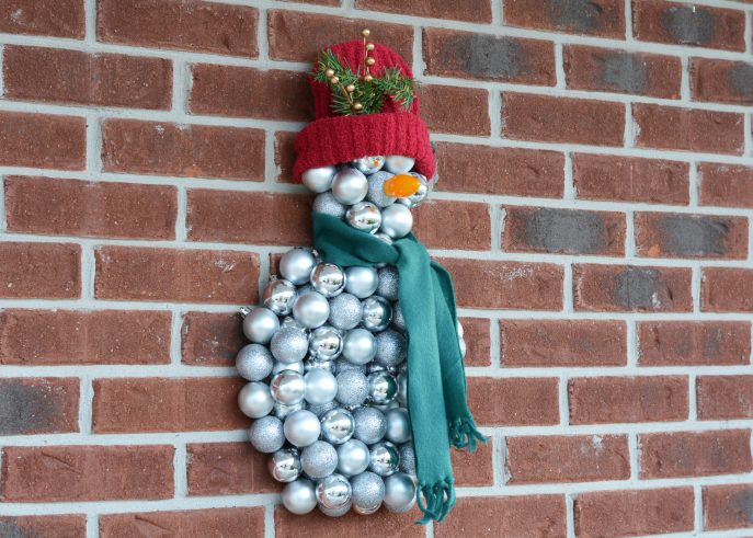 Snowman Wall Decoration with Christmas Ornaments