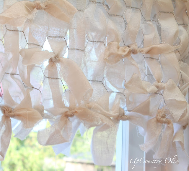 Tea Dyed Chicken Wire Valance