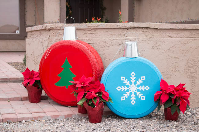 Turn Old Tires into Giant Christmas Ornaments