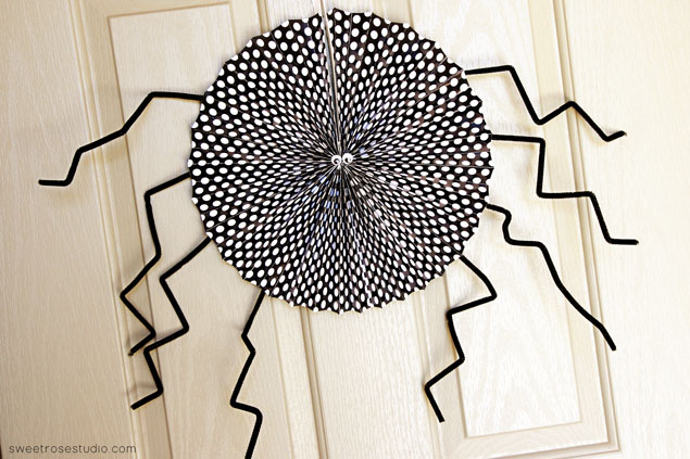 Paper Fan Spider Halloween Decor