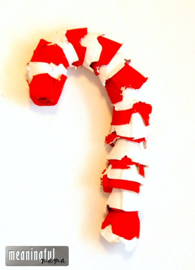 Egg Carton Candy Cane Craft