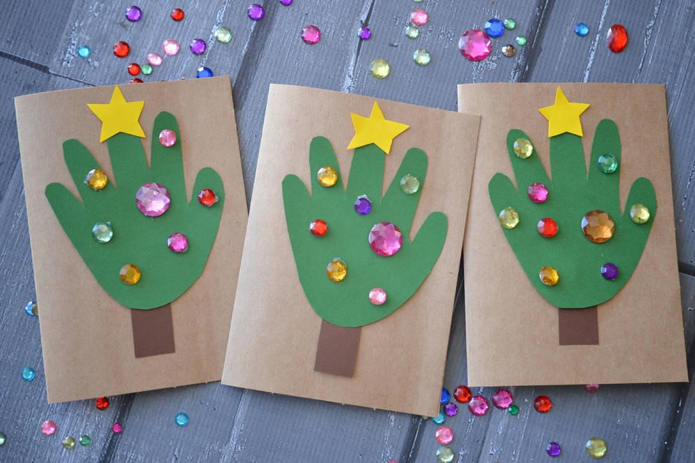 Handprint Christmas Tree Cards