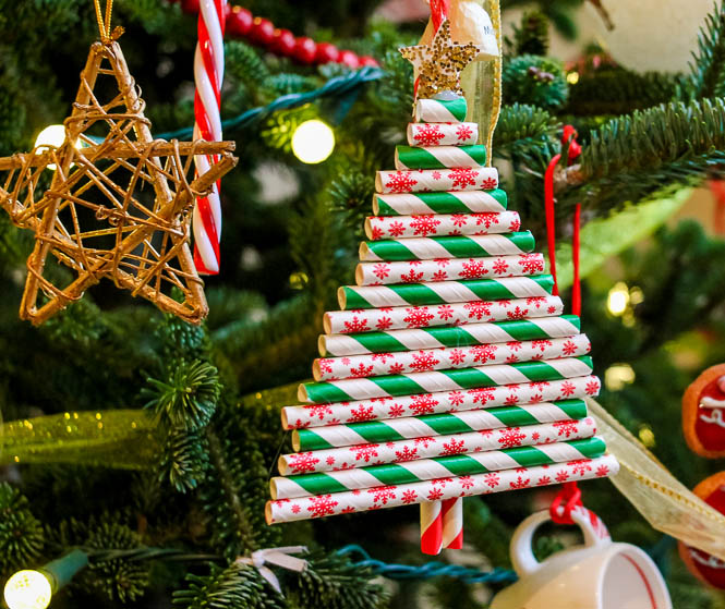 Paper Straw Christmas Tree Ornament