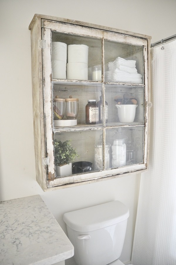 Old Window Bathroom Cabinet