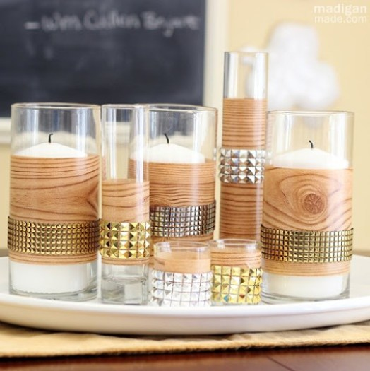 Studded Faux Bois Centerpiece