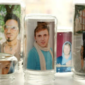 Use empty jars to make lovely photo frames