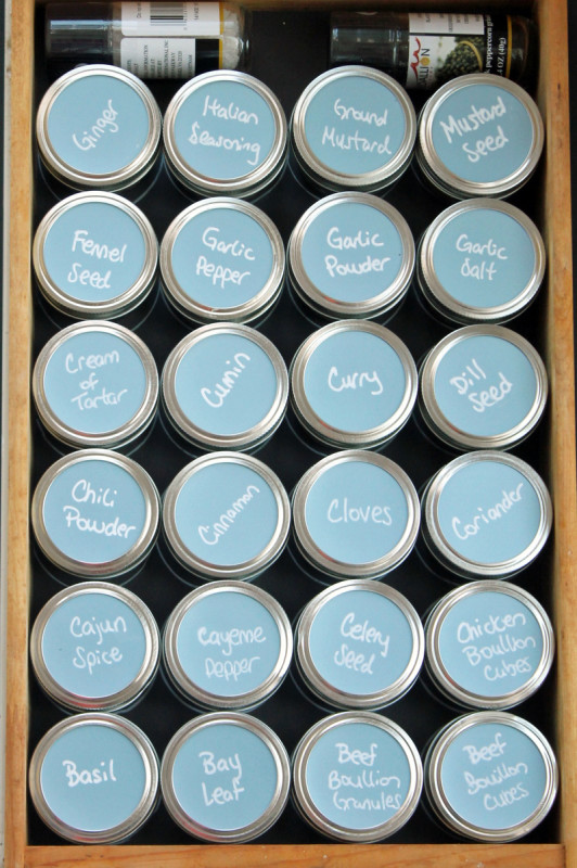 organize your spice drawer with mason jars