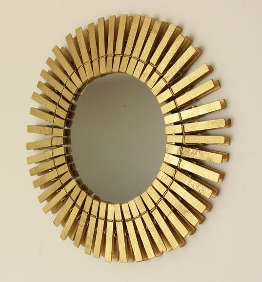 Clothespin Sunburst Mirror