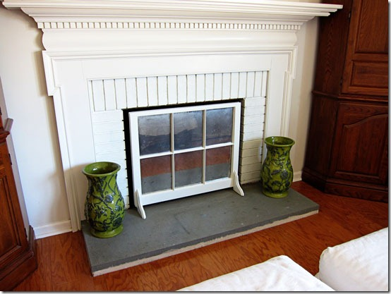 Fireplace Screen Using Old Window