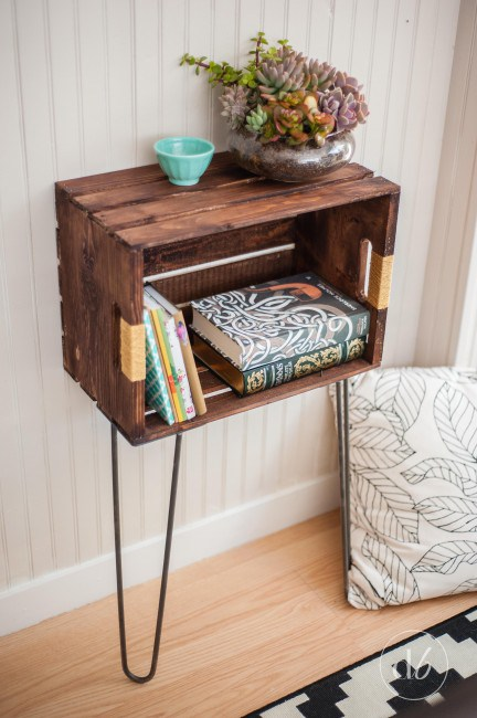 Wooden Crate Side Table