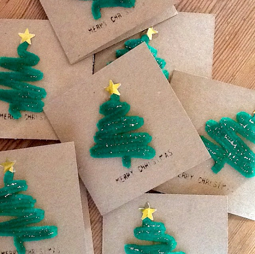 Pipe Cleaner Christmas Tree Cards