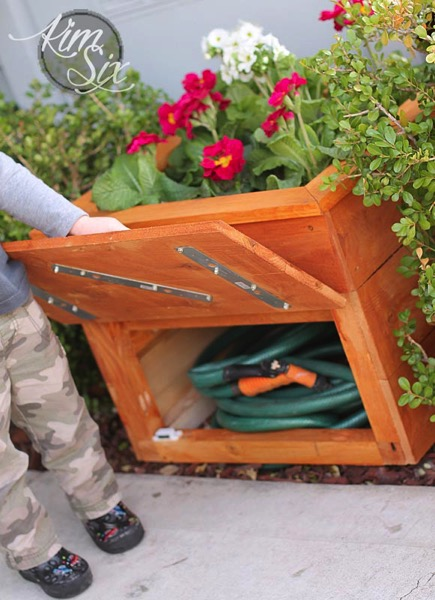 Cedar Planter Box with Hidden Hose Storage