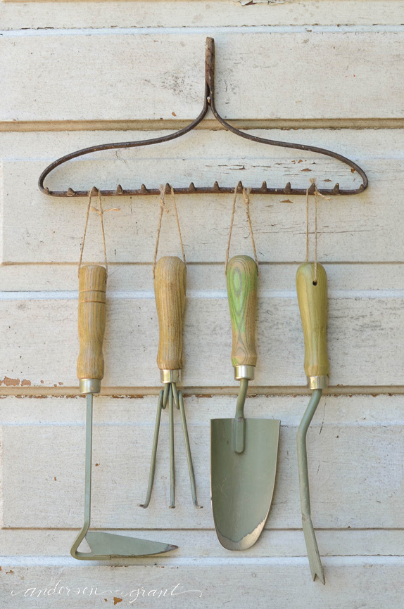 Old Rake Top Tool Organizer
