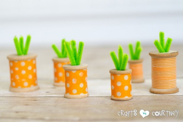 Washi Tape Thread Spool Carrots